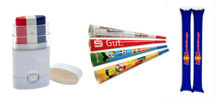 Maquillage, vuvuzela, tap-tap : exemples d'objets publicitaires pour les stades